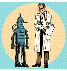 Professor scientist and robot creator gadget vector