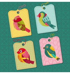 Scrapbook Design elements - Tags with Birds vector image vector image