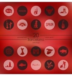 Set of Barcelona icons vector image