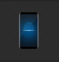 smartphone with fingerprint scan vector image