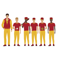 the young baseball players vector image vector image