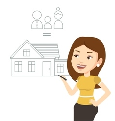 Young woman drawing her family house vector image