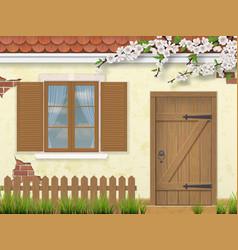 spring old facade window wooden door vector image vector image