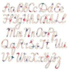 Written vintage alphabet vector image