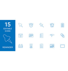 15 reminder icons vector image