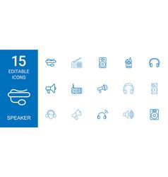 15 speaker icons vector