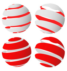 3d abstract striped sphere in four version vector image