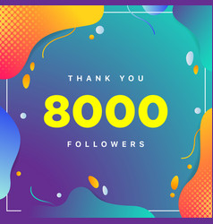 8000 or 8k followers thank you colorful geometric vector
