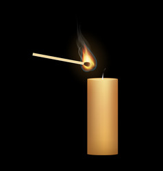 a candle with a match vector image