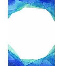Abstract triangle blue border watercolor vector