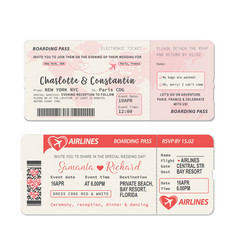 Airline wedding invitation boarding pass vector