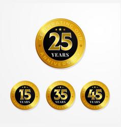 anniversary logo badge design set shiny gold vector image