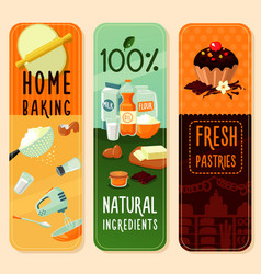 baking ingredients vertical banners vector image