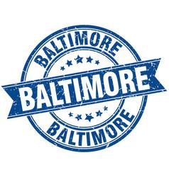 Baltimore blue round grunge vintage ribbon stamp vector