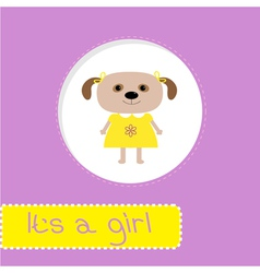 bashower card with dog its a girl vector image