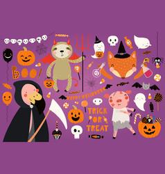 Big halloween with cute animals vector