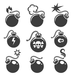 Bomb signs or bomb symbols vector