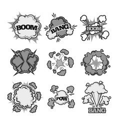 boom bang pow comic bubble sound clouds vector image