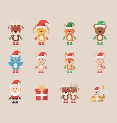 Bundle christmas with icons set vector