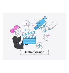 Business concept motion design studio teamwork of vector