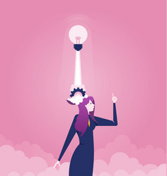 businesswoman with light bulb launching from head vector image