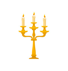 candelabrum with three burning candles with vector image