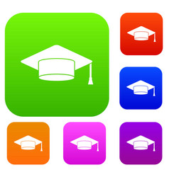 cap student set collection vector image