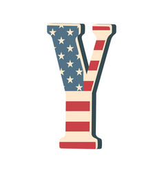 Capital 3d letter y with american flag texture vector