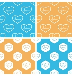 Cardiology pattern set colored vector