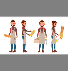 Carpenter worker different poses full vector