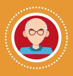 Character old man glasses social media vector