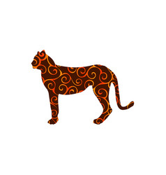 Cheetah wildcat color silhouette animal vector