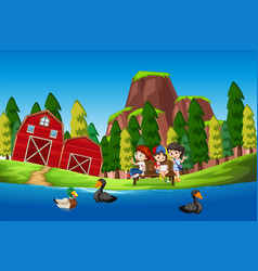children at the duck pond vector image