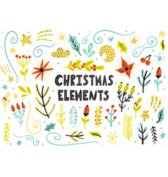 christmas floral elements collection hand drawn vector image
