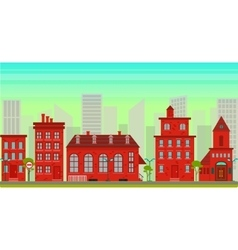 City landscape in flat style vector image