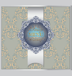 classic baroque menu card background rich vector image