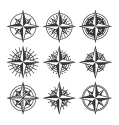 Compasses with ornate dials set wind rose icons vector