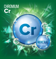 Cr chromium mineral blue pill icon vector