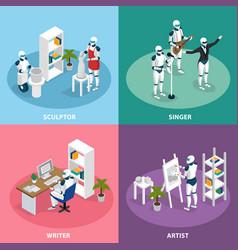 Creative robots isometric concept vector
