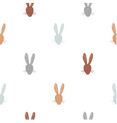 cute hand drawn rabbit heads seamless pattern vector image