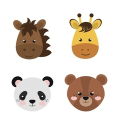 cute set animals heads isolated icon design vector image
