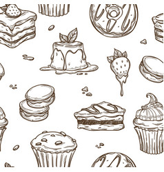 dessert cakes sketch pattern background vector image