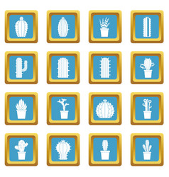 different cactuses icons azure vector image
