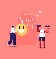 dopamine concept characters enjoying life due to vector image