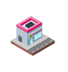 drugstore building in isometric projection vector image