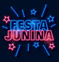 Festa junina neon text background vector