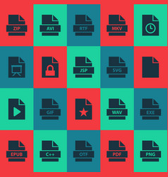 file icons set with file zip directory and other vector image