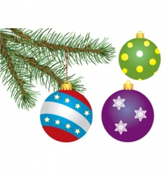 Fir tree branch and decoration vector