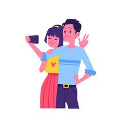 flat happy couple selfie in phone screen vector image