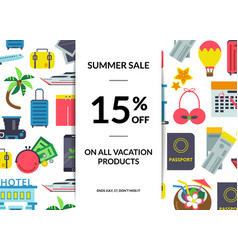 flat travel elements sale background vector image
